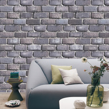 "HaokHome Faux Brick Wallpaper Rolls Black/Grey/Dk.Blue Textured Wall Decoration 20.8"" x 31ft(China)"