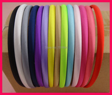 50PCS Assorted Colors 10mm Satin Fabric Wrapped Plain Plastic Hair Headbands for DIY Hair Accessories(China)