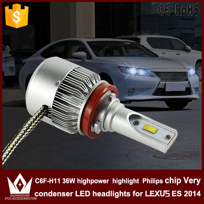 Night Lord 2pcs new products C6F H11 Headlight Head lamp with mute fan LOW Beam Dipped beam for Lexus ES 2014 light source<br><br>Aliexpress