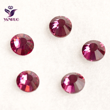 YANRUO Fuchsia Red Ruby Color Strass Non Hotfix Glue on Nails Crystal Rhinestones Flat Craft Supplies Dance Costume Rhinestones(China)