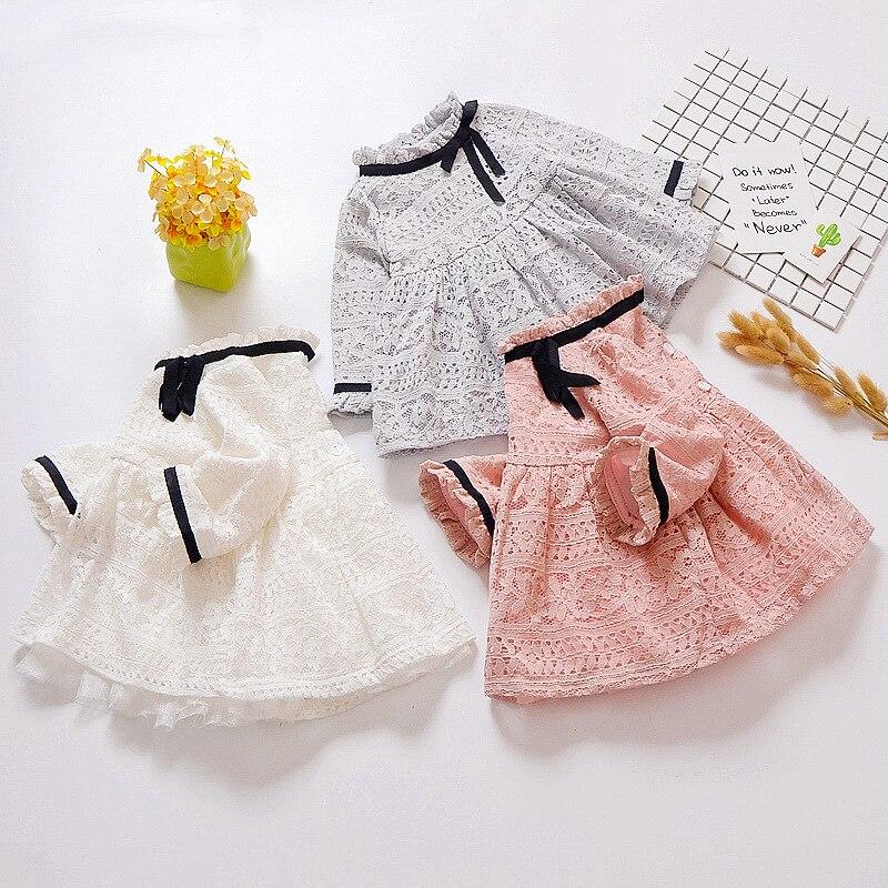Spring Cute Girl Cotton Lace Dress Fashion Girl Long Sleeve Ribbon Design Dress 2018 Children Clothing <br>