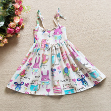 New Cute Baby Girl Tank Dress Toddler Slip Graffiti Dress Children Summer Graffiti Holiday Dress Kids Clothing Girls Vestidos