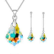 New Irregular Maple Water Drop Multicolor Crystal Jewelry Sets For Women Gold&Silver Bridal Wedding Charm Necklaces Earrings Set