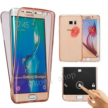 Free Shipping Soft TPU Transparent 360 Full Case For Samsung Galaxy S7 S7 Edge Touch Screen Front+Back TWO-PIECE Hybrid Cover