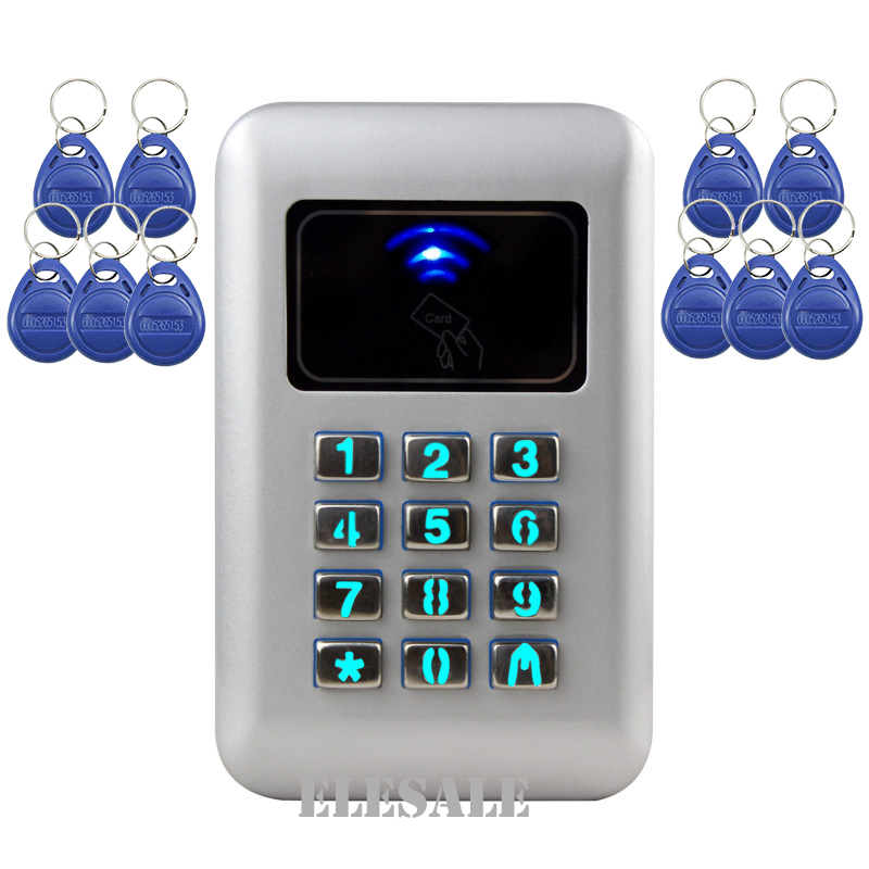 Entry Door Reader Keypad RFID Proximity Access Control System 10 ID Keyfobs Door Lock Opener For Home Office Security<br>