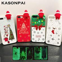KASONPAI New 3D Christmas Santa Claus Case For iPhone 6 6s 7 8 Plus Tree Socks Soft TPU In The Dark Luminous Phone Back Cover