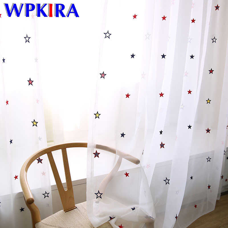 Gypsophila Embroidered Tulle Curtain For Children Girls Room High-grade Colorful Star Curtain Living Room Custom Made WP310D3