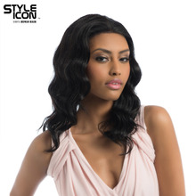 Styleicon Malaysian Virgin Hair Wig Color 1B Lace Front Human Hair Wigs For Women 16 Inch Long Body Wavy Free Shipping(China)