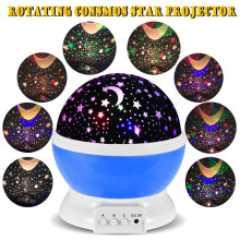 Best seller Romantic New Rotating Star Moon Sky Rotation Night Projector Light Lamp Projection with high quality Kids Bed Lamp(China)