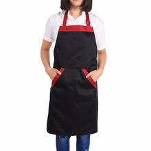 Cooking Aprons With 2 Pockets Unisex Chef Halterneck Bib Polyester Kitchen Restaurant Catering Apron Black Red Fashion