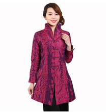 Purple Chinese Style Women Silk Satin Jacket Embroidery Coat Autumn Winter Windbreaker Tang Suit Top Size S M L XL XXL XXXL T045