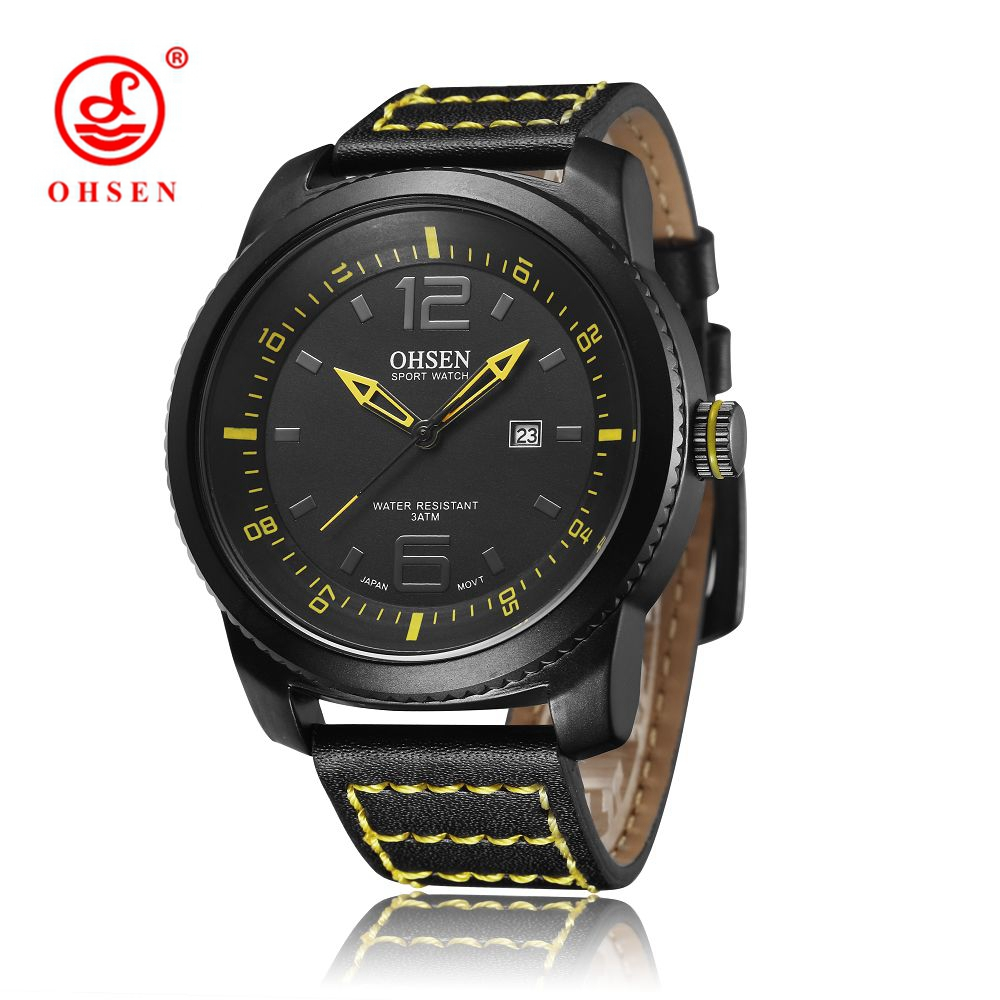 OHSEN Relogio Masculino Man Analog Quartz Watch Leather Band 30m Waterproof Mens Wristwatch Round Dial Fashion Clock Hombre Gift<br><br>Aliexpress
