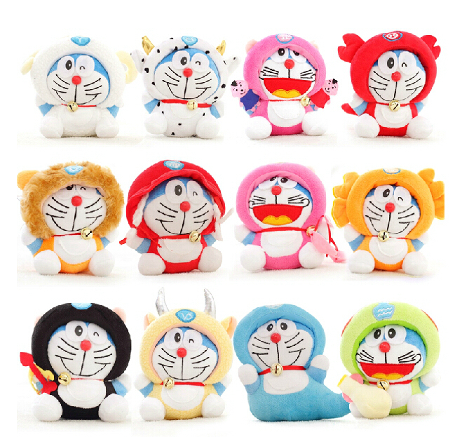 12pcs/lot  7  Twelve Constellation Doraemon Kawaii  Doll Stuffed Animal Baby Toy  Wedding Gift Kids Toys <br>