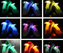 free shipping EMS Led flash shoelace colorful luminous shoelace party decorations fancy lights 100pairs/lot Light-Up Toys