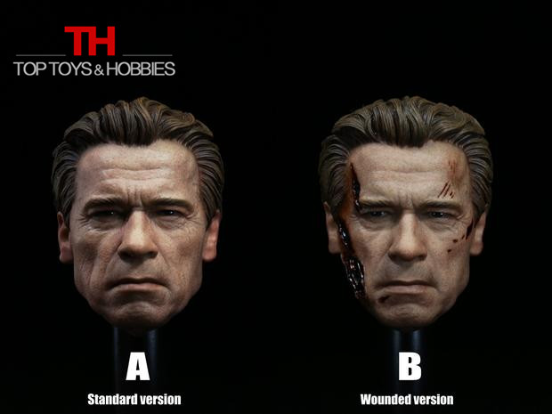 1/6 T800 Old Arnold Head Sculpt Battle Damage Head Carving Terminator Salvation Male Headplay for 12 Action Figures Accessory<br>