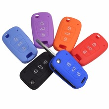 12 Colors Silicone Key Cover fit for KIA K2 K5 Sportage Sorento Flip Folding Remote Key Case Holder 3 Button With Logo
