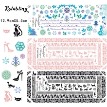 2017 Hot Sale Funny And Interesting Cats Series Nail Water Decals Snowflake Nail Decals Nails Art Manicure Fingernails