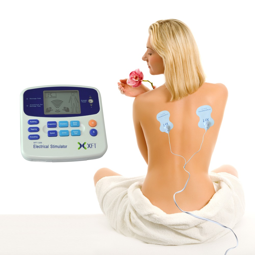 2 Channels Digital Therapy TENS Muscle Pain Massage Machine w/4 Pads  Acupuncture Pen For Physical Therapy XFT-320A<br>