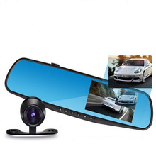 "Promotions 4.3"" Car Camera Full HD 1080P Rearview Mirror Car DVR Dual Lens Video Recorder Parking Night Vision Auto Registrator"