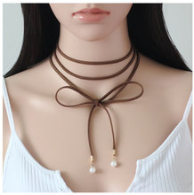 Leather Choker Necklace For Elegant Women Hot Selling Black Brown Velvet Short Collar with Imitation Pearls Gift for All Ladies