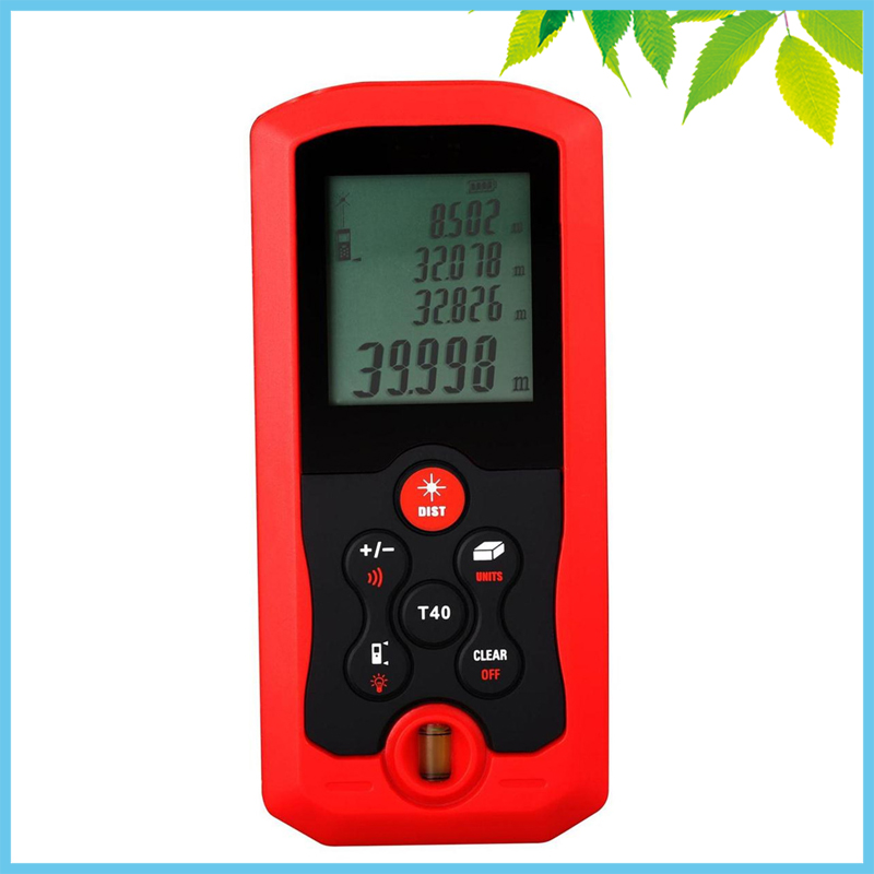 Level Bubble Digital Laser Distance Meter 40m Area Volume Distance Tester M FT Inch Tool Pythagoras Range Finder Tape Measure<br>