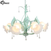 Rustic Child Room Princess Crystal Chandelier Light Fashion Flowers Rural Girl Bedroom Lamps Pink Blue Green Restaurant Dining