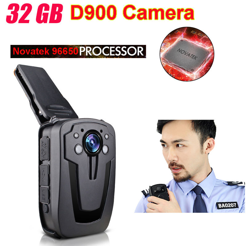 Free Shipping!D900 Novatek 96650 32GB Full HD 1080P Police Body Lapel Worn Video Camera Recorder DVR IR Night Cam 6-hour Record<br><br>Aliexpress