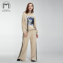 Margin Woman two piece set pullover sweatshirt and pants sportwear costumes tracksuit for women print Ribbons Corduroy Suit s m(China)