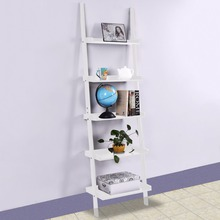 Goplus White 5-Tier Bookcase Bookshelf Leaning Wall Pants Shelf Ladder Storage Display Furniture Home Wall Cabinet HW51811(China)