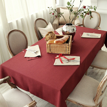 Jo's warm Colors Table Cloth Classic Solid Color Round Rectangle Coffee Dining Decor Cover Polyester Faux linen Dyed Tablecloth(China)