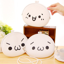Cute face Expression soft silicone Beast corps messenger bag white Coin Purse Makeup Bag Coin bag keg wallet HBD17