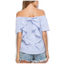 MAKE Hot Women's New Fashion Tops Casual Blue Striped Short Sleeve Sexy Off Shoulder Ruffle Bowknot Loose Blouse(Blue Striped,S/(China)