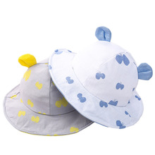 Cute Print Summer Baby Hats for Girls Boys Cotton Toddler Infant Sun Cap with Ears Children Bucket Hat for 1-3 Years 1 PC