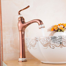 Brass Basin Faucet PVD Vacuum Coating Jade Mixer Cold and Hot Kitchen Faucet Bathroom Faucets Rose Gold Water Tap Torneira