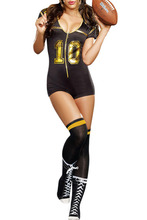 2016 New Summer Women's Sexy  Short Sleeve  V-Neck Club Football Costume LGY8964