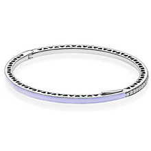 Radiant Hearts Lavender Enamel CZ Bangle Bracelet Authentic 925 Sterling Silver Compatible with Europe Original Jewelry(China)