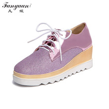 New 2017 Spring Women Loafers Mixed Color Lace-up Shoes Shining PU Square Toe Wedges Flat Platform Female Party Shoes