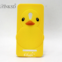 3D Yellow Duck Rubber Mobile Phone Case Cover For Asus Zenfone 5 A500CG A501CG Cute Cartoon Soft Silicone Back Cover(China)