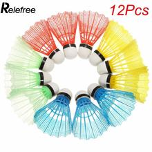 Relefree 12pcs Portable Colorful Badminton Balls Shuttlecocks Sport Products Training Train Supplies High Quality(China)