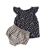 0-5Y Baby Girls Clothes Bebe Sets Bodysuit Infant Summer Dots Print T Shirt+Plaid Shorts Costume Cheap Baby Clothes