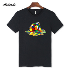 Funny Melted Cube Design Men Black Short Sleeve with T- Shirt Creative Novelty Imaginative Simple And Beautiful Tees 3xl 2XL(China)