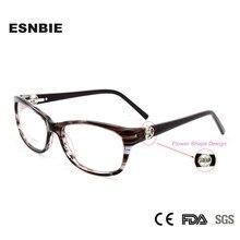 ESNBIE Novo oculos de grau feminino Moda Óculos Mulheres Prescrição Eyewear armacao  de oculos Feminino Limpar Lens Frame Ótico eb365ceabc