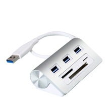 New arrival powered usb hub 3.0 3-Ports USB Hub with 3 slots Card Reader for SD/Micro SD/CF/TF card for Macs iMacs MacBooks(China)