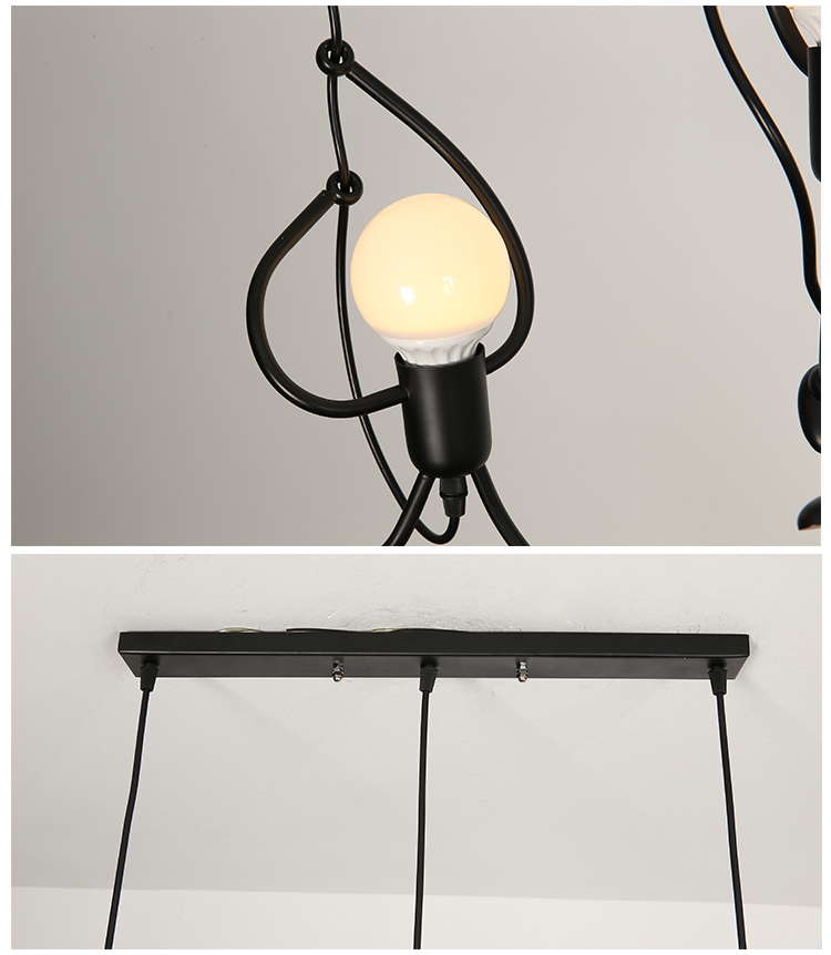 Novelty Pendant Lighting Fixtures Black Iron Dining Room Cafe Restaurant Lamps Modern Hanging Light Suspension Luminaire 12