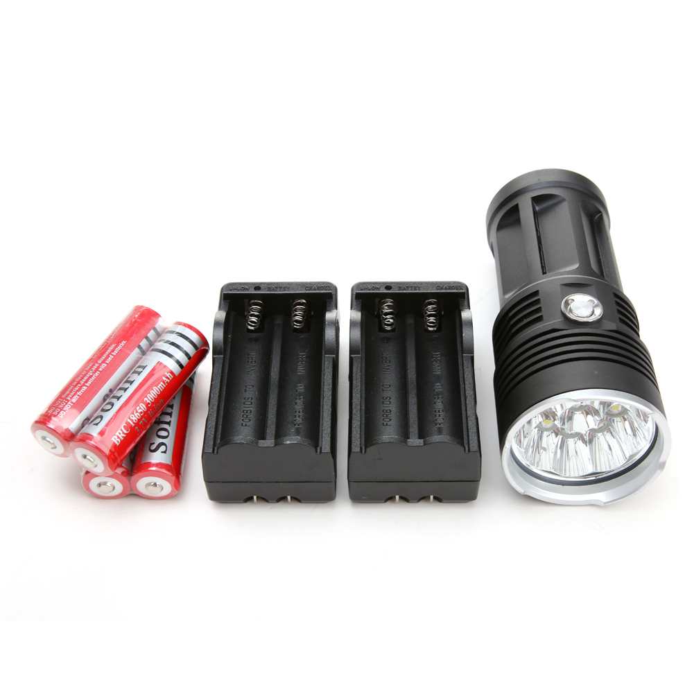 Aluminum 25000LM 5 Modes XM-L T6 10 LEDs Flashlight Torch 4 x 18650 Battery +Charger For Outdoor Camping Hiking <br>