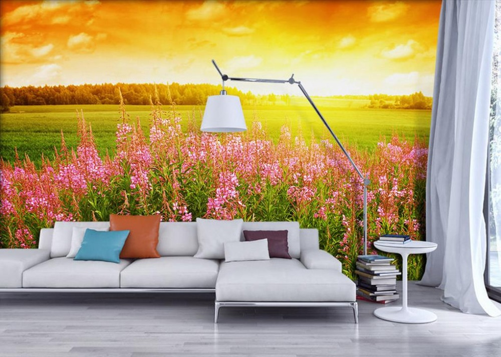HD Photo Wallpaper 3D Lifelike pastoral flowers Mural nature landscape 3D Wallpaper For Wall Painting Vinyl Wallpaper<br>