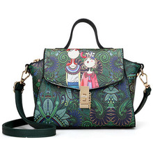 Fashion Dark Green Forest Cartoon Image Printing Women Leather Messenger Tote Bag Retro Flap Shoulder Bag Handbag Woman canta