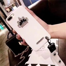 Luxury Hot Girl Mobile Phone Case Rhinestone Crown Decoration Hand Strap Leather Protective Phone Cover Case for iPhone 7/8 Plus