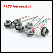 Rockeybright 10pcs 1156 ba15s socket harness plugs connectors 1156 pre-wired wiring sockets for 1156 ba15s led bulb