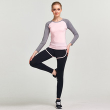 GXQIL Autumn Women Yoga Training Jogging Sport Suit Sets Long Sleeves Quick Dry Gym Fitness Sportswear Female Tracksuit Kits(China)